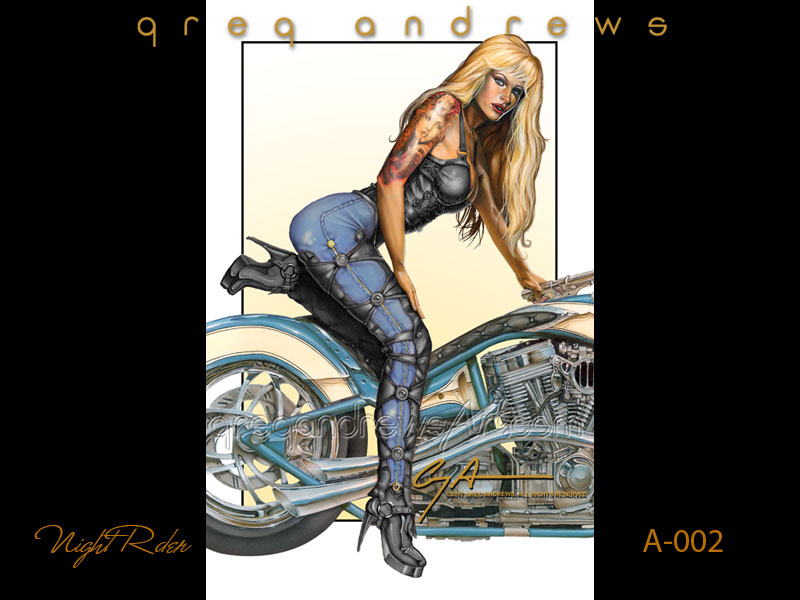 fantsy harley davidson motorcycle pinup art by artist greg andrews titled night rider