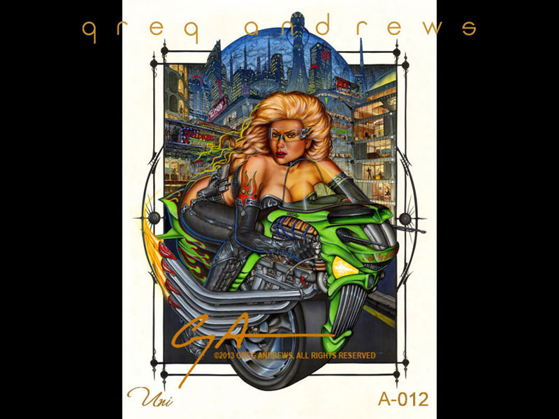 fantasy unicycle motorcycle pinup art  				by artist greg andrews titled uni