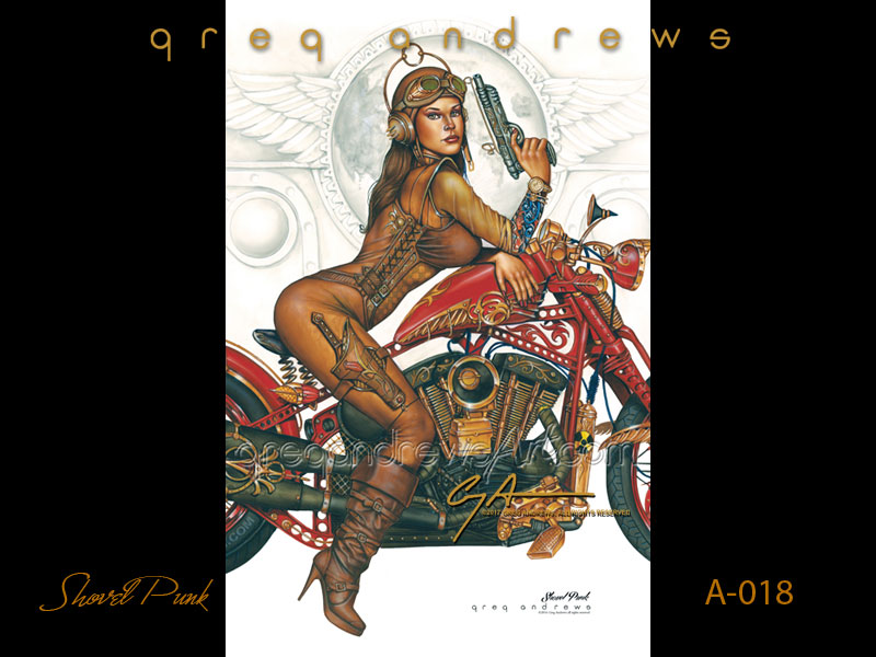 fantasy harley davidson motorcycle pinup art by artist greg andrews titled shovel punk