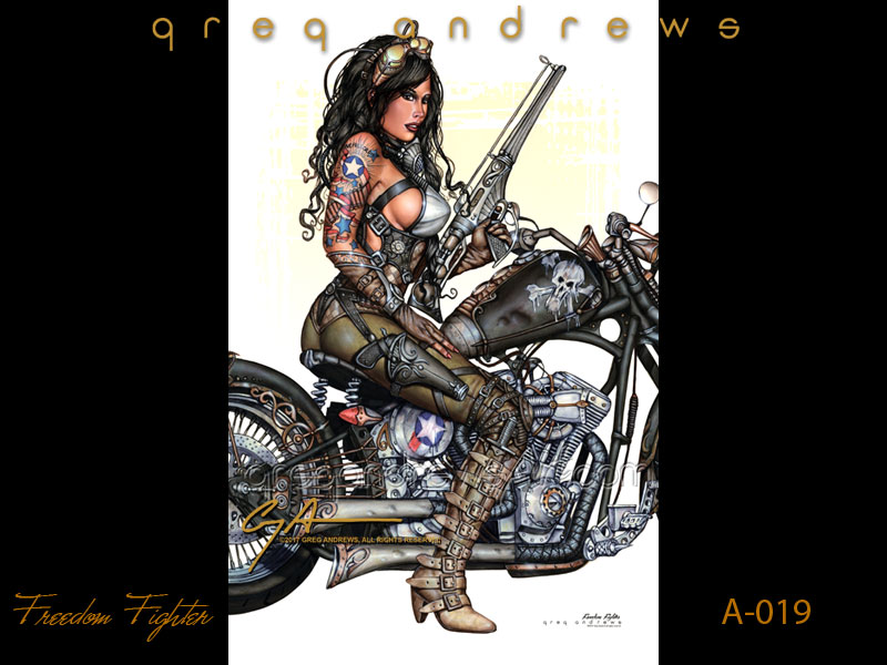 sexy fanasy harley davidson motorcycle pinup art by artist greg andrews titled freedom fighter