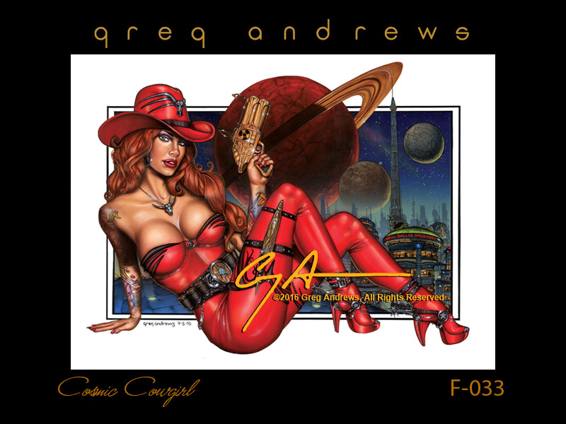 fantasy pinup art by artist greg andrews cosmic cowgirl