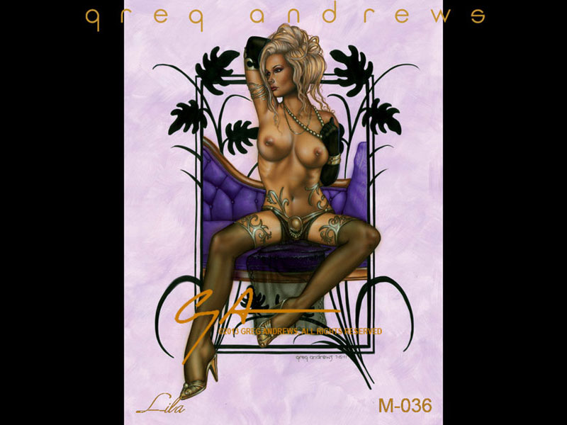 fantasy nude pinup art by artist greg andrews lila