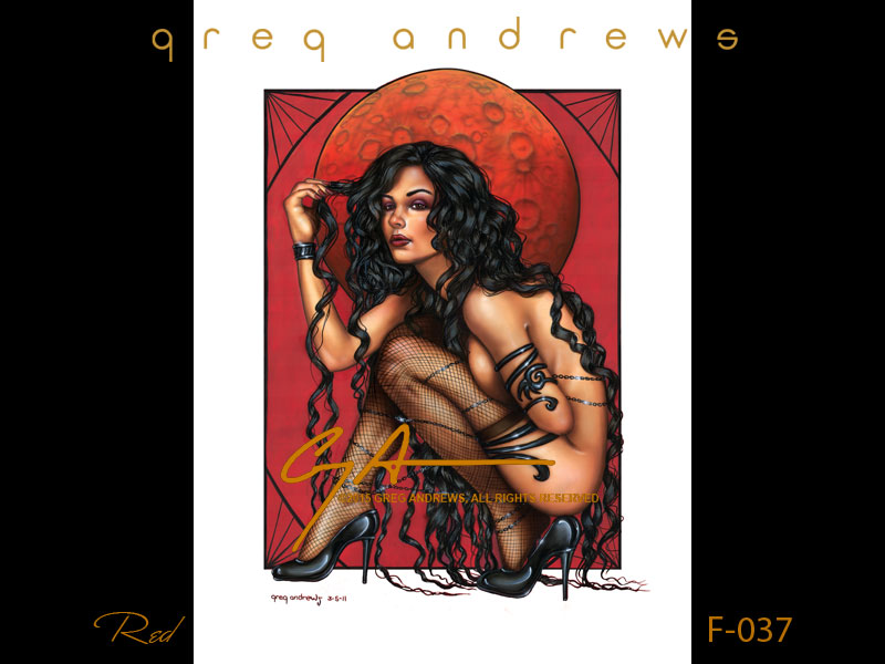 fantasy nude pinup art by artist greg andrews red