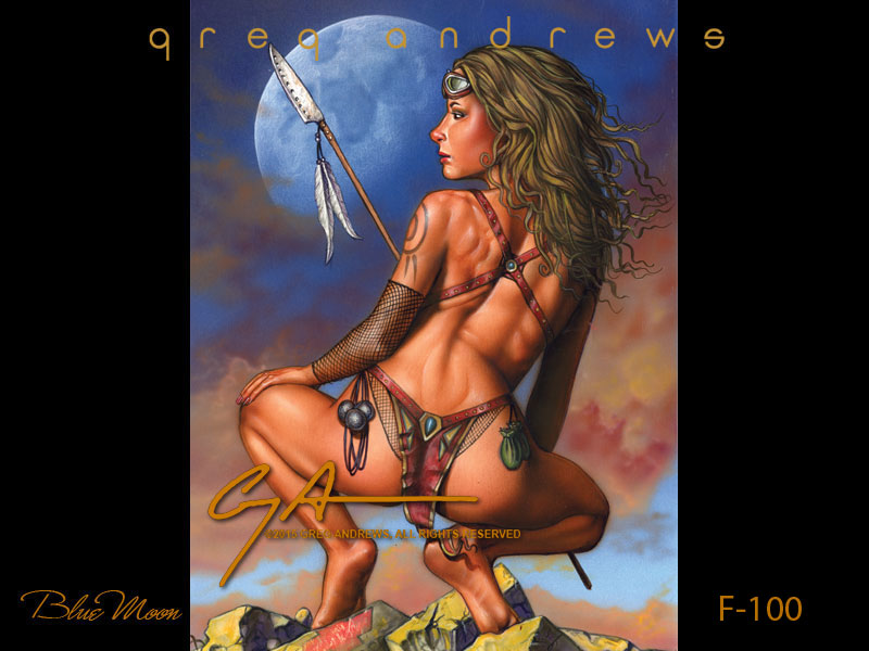 fantasy pinup art by artist greg andrews blue moon