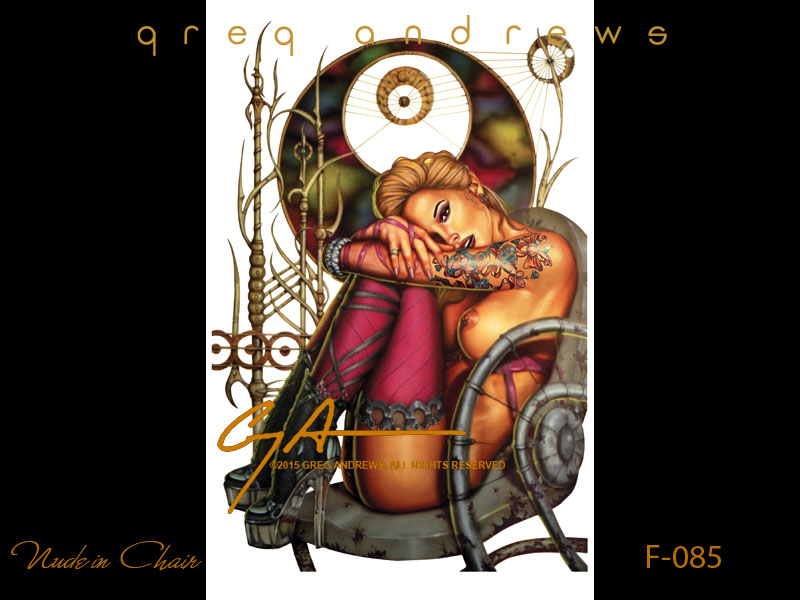 fantasy pinup art by artist greg andrews nude in chair