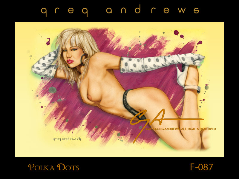 fantasy nude pinup art by artist greg andrews polka dots