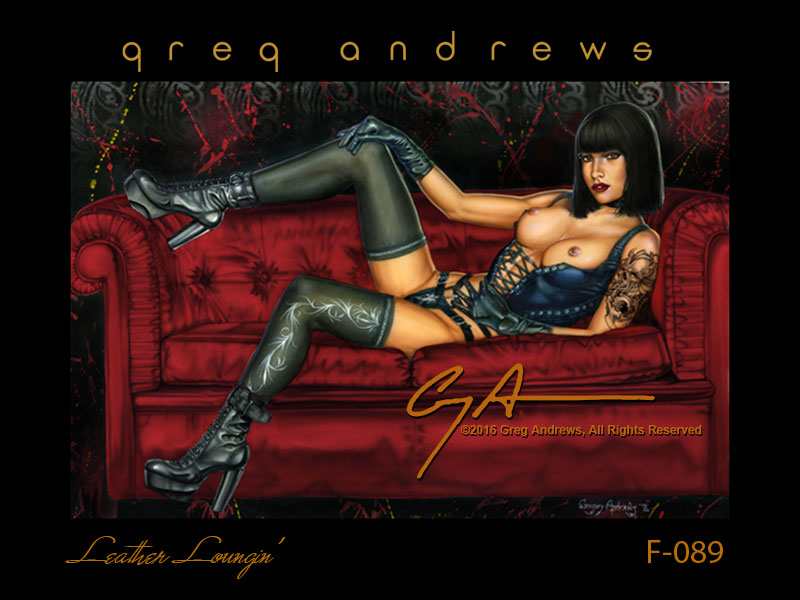 fantasy nude pinup art by artist greg andrews leather loungin