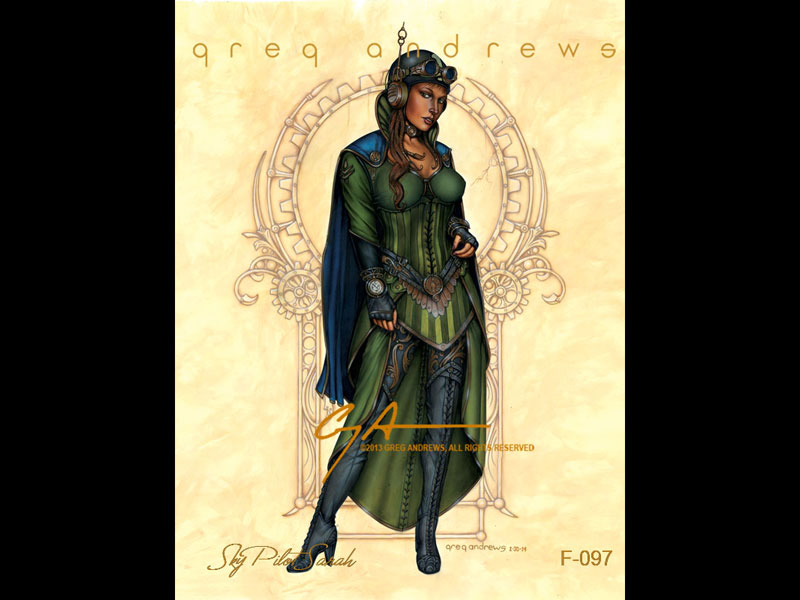 fantasy pinup steampunk art by artist greg andrews sky pilot