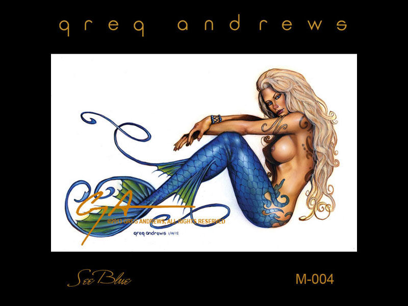 fantasy mermaid pinup art by artist greg andrews see blue