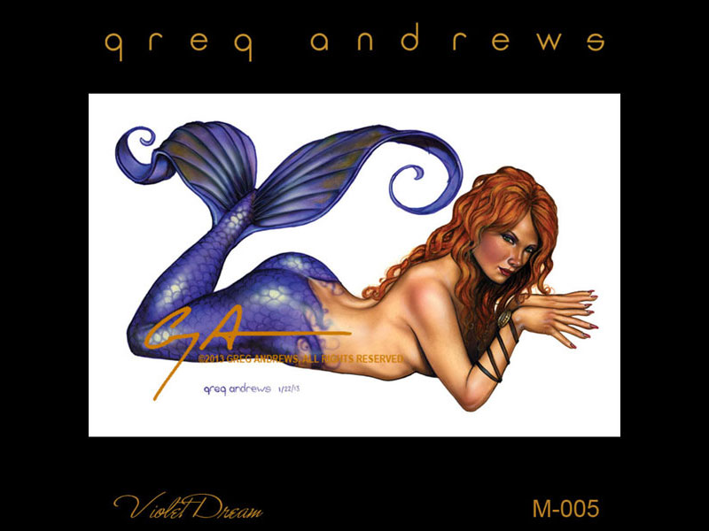 fantasy mermaid pinup art by artist greg andrews violet dream