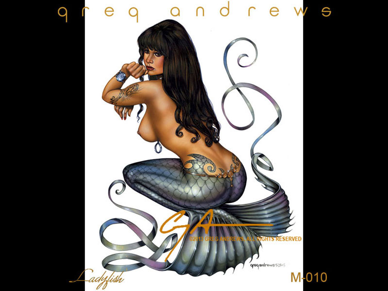 fantasy mermaid pinup art by artist greg andrews ladyfish