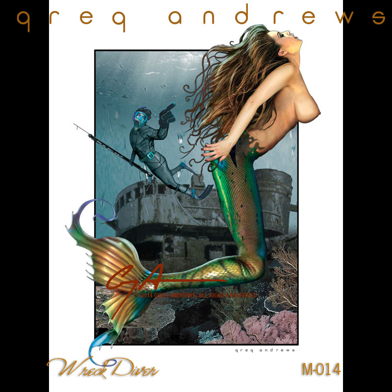 fantasy diver mermaid pinup art by artist greg andrews
