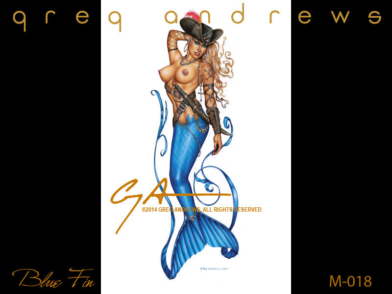 fantasy pirate mermaid pinup art by artist greg andrews blue fin