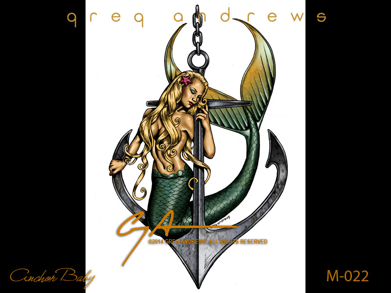 fantasy mermaid pinup art by artist greg andrews anchor