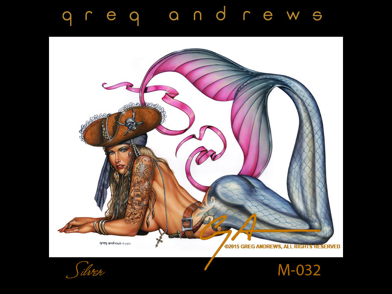 fantasy pirate mermaid pinup art by artist greg andrews silver