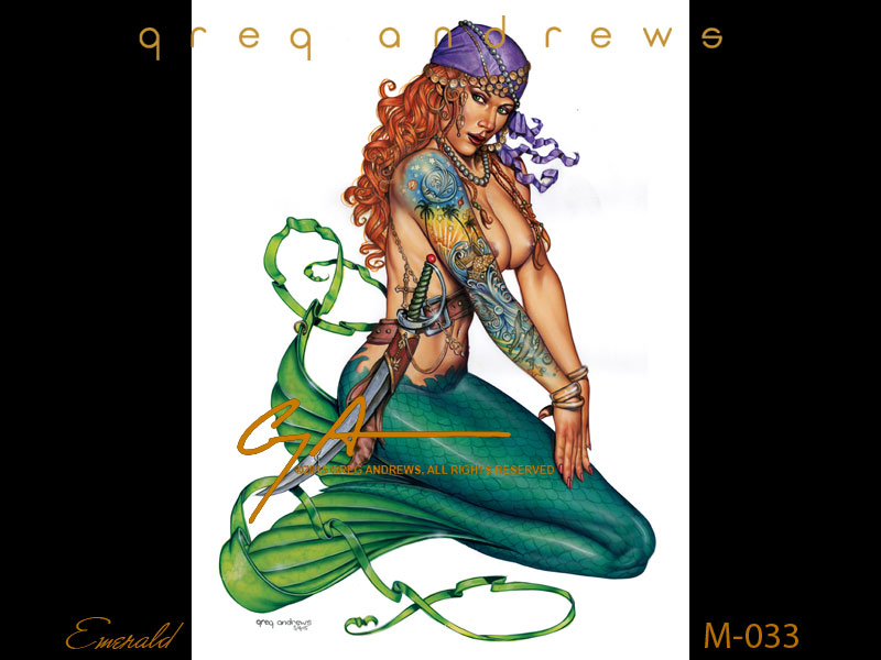 fantasy pirate mermaid pinup art by artist greg andrews emerald