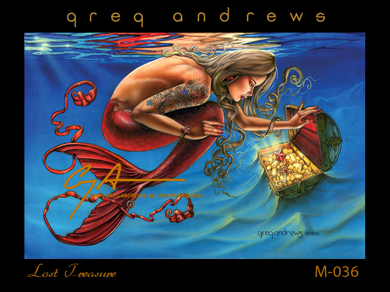 fantasy mermaid pinup art by artist greg andrews lost treasure