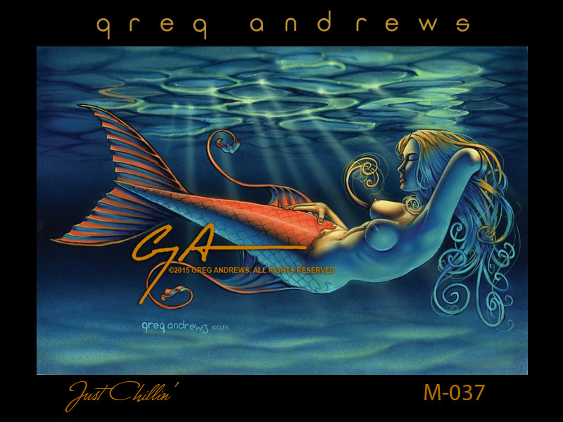 fantasy mermaid pinup art by artist greg andrews just chillin