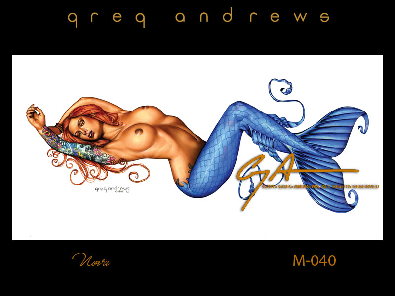 fantasy mermaid pinup art by artist greg andrews nikki nova