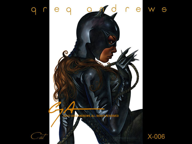fantasy comic pinup art by artist greg andrews cat woman 1