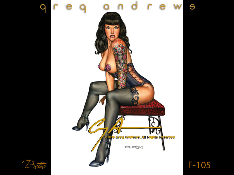 Fantasy tattoo pinup of Bettie Page by artist Greg Andrews Art