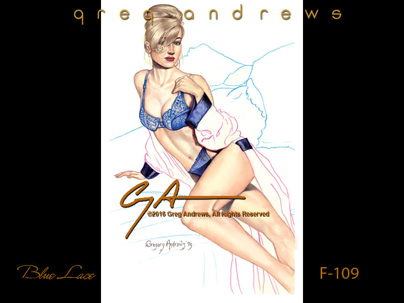 fantasy  pinup art by artist greg andrews blue lace