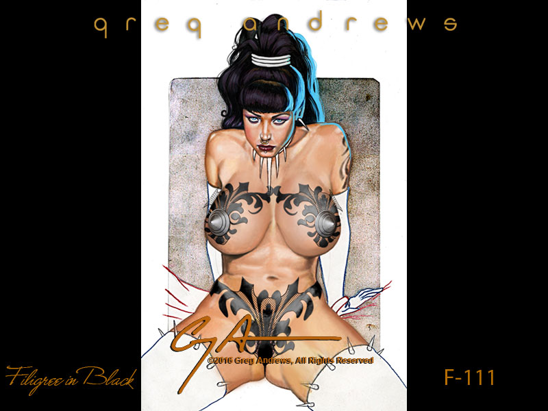 fantasy  pinup art by artist greg andrews FILIGREE IN BLACK