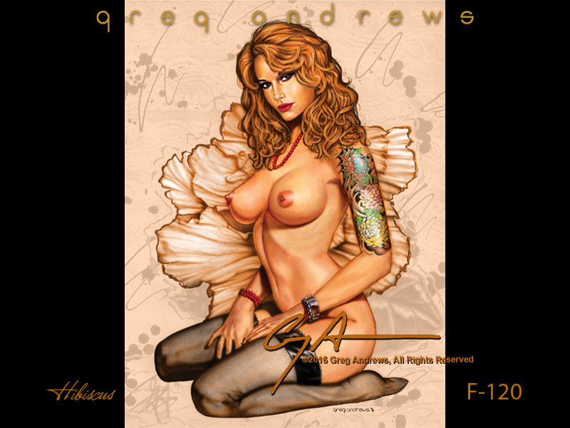 fantasy  pinup art by artist greg andrews HIBISCUS