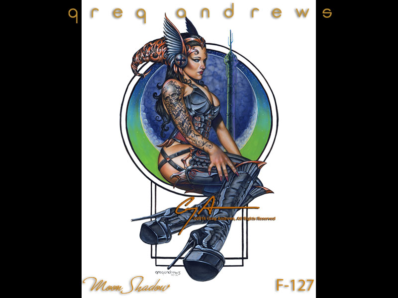 MOON SHADOW is fantasy art pinup by the artist Greg Andrews
