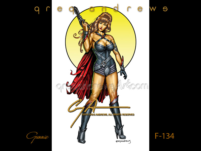 GUNNIE is fantasy art pinup by the artist Greg Andrews