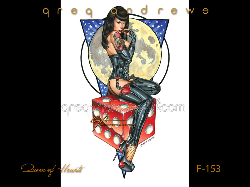 queen of hearts is a fantasy pinup by greg andrews artist
