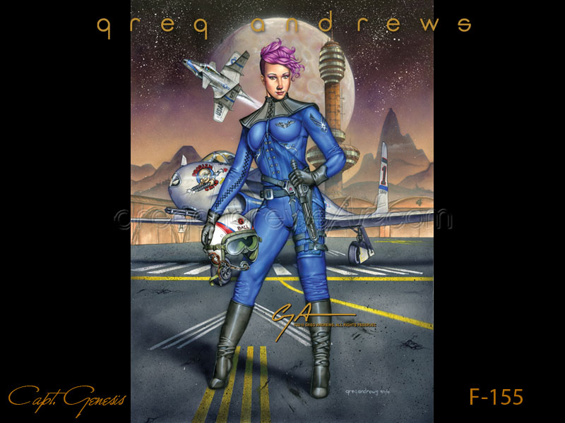 Captain Genesis fantasy anime steampunk art by artist Greg Andrews. Modeled by Genesis Ball Humberger