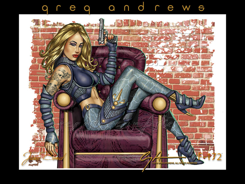 Jane Bond fantasy action pinup art by artist Greg Andrews. Modeled by Genesis Ball Humberger