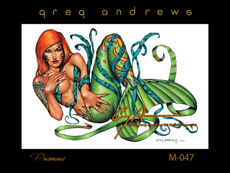 poison ivy fantasy mermaid pinup art by artist greg andrews