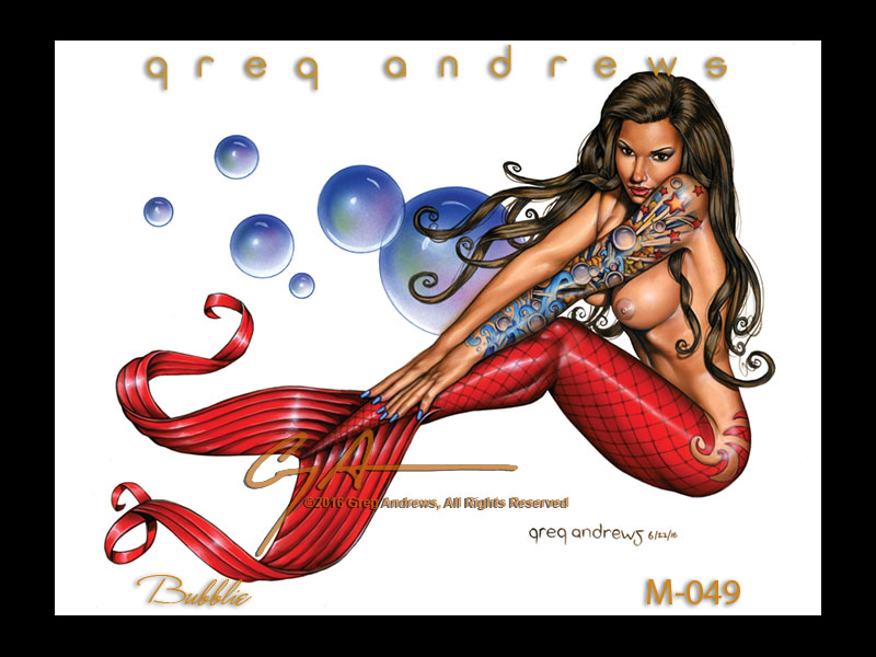 BUBBLIE fanatsy pinup mermaid art by greg andrews artist