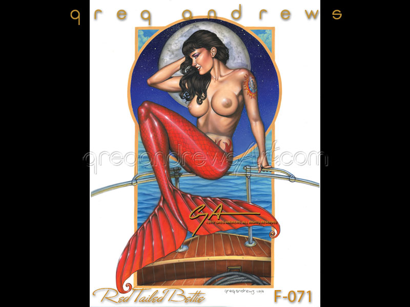 A Red Tailed Bettie is a sexy fantasy mermaid by pinup artist greg andrews